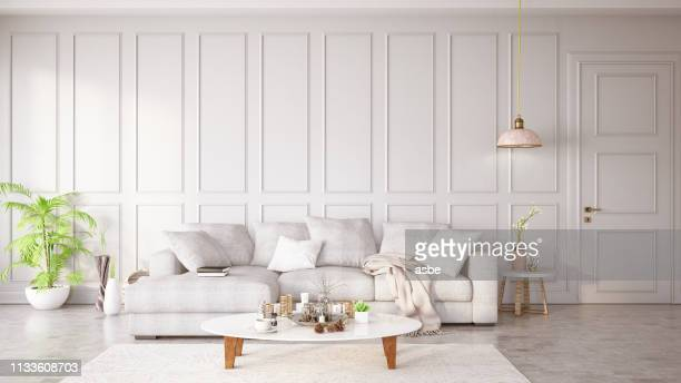 modern living room with sofa and decorations - bright stock pictures, royalty-free photos & images
