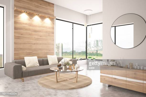 modern living room with sofa - lighting equipment stock pictures, royalty-free photos & images