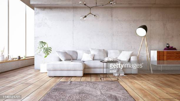 modern living room with sofa - clean stock pictures, royalty-free photos & images