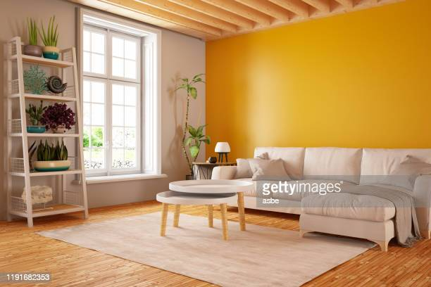 modern living room with sofa - multi coloured stock pictures, royalty-free photos & images