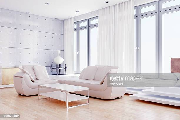 modern living room with white decor - penthouse stock pictures, royalty-free photos & images