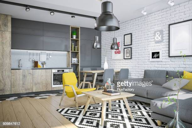 Modern living space with kitchen and yellow details