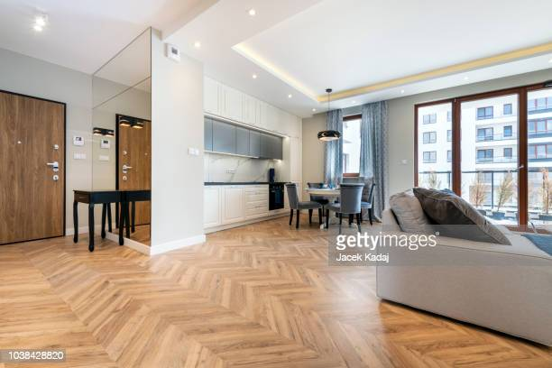 modern living-room - wide stock pictures, royalty-free photos & images