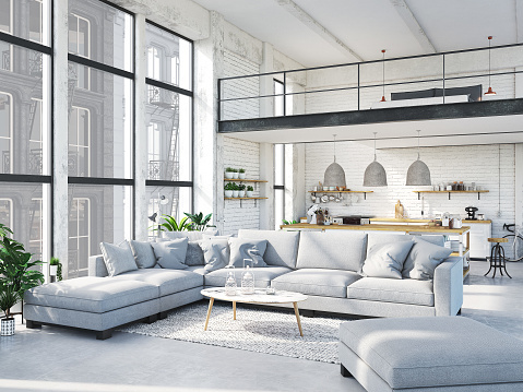 modern loft apartment. 3d rendering 696919864