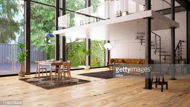 modern loft apartment with mezzanine - large stock pictures, royalty-free photos & images
