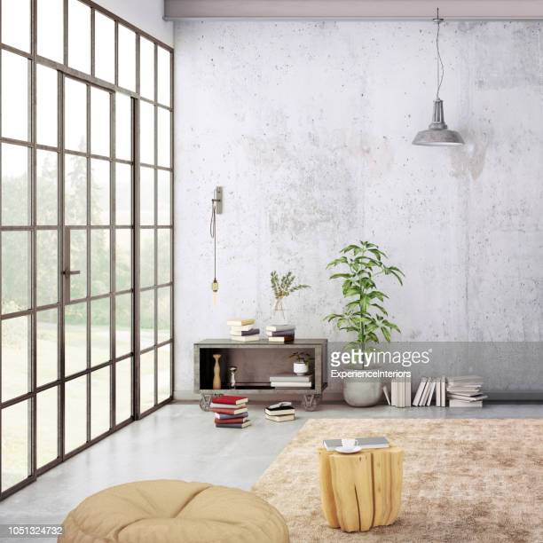 modern loft interior with blank wall for copy space - scandinavia stock pictures, royalty-free photos & images