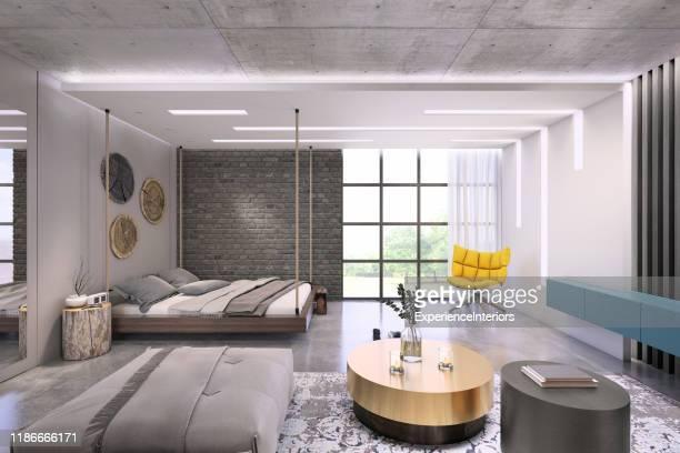 modern loft studio apartment interior - art deco furniture stock pictures, royalty-free photos & images