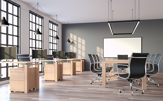 Modern loft style office with gray wall 3d render 934473156