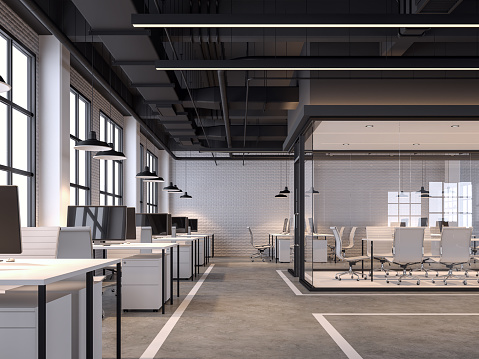 Modern loft style office with white brick wall 3d render 1161334995