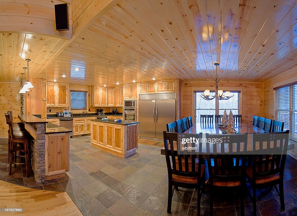 Modern Log Cabin Kitchen XXL Stock Photo