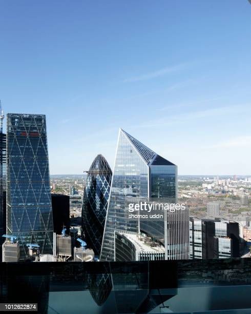 modern london architecture and the city skyline - aerial view - scalpel stock photos and pictures
