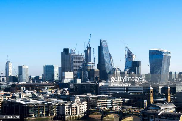 Modern London architecture and the financial district from high up