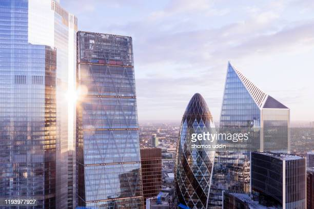 modern london office towers viewed from above - morning stock pictures, royalty-free photos & images