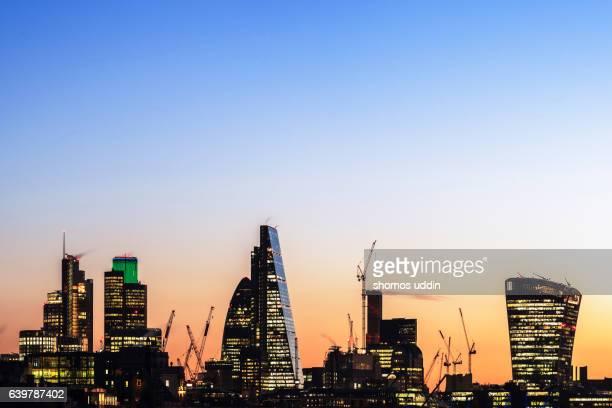 Modern London skyline at dawn