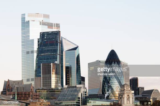 modern london skyline at dusk - large stock pictures, royalty-free photos & images