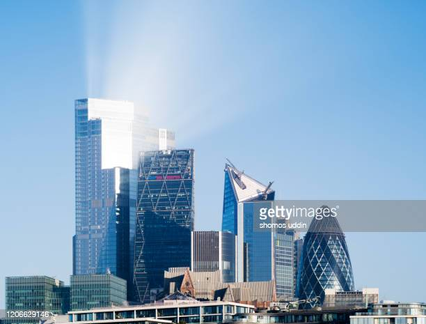 modern london skyscrapers against clear blue sky - skyline stock pictures, royalty-free photos & images