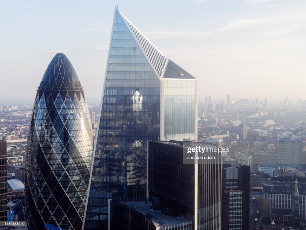 Modern London skyscrapers and the financial district : Stock Photo