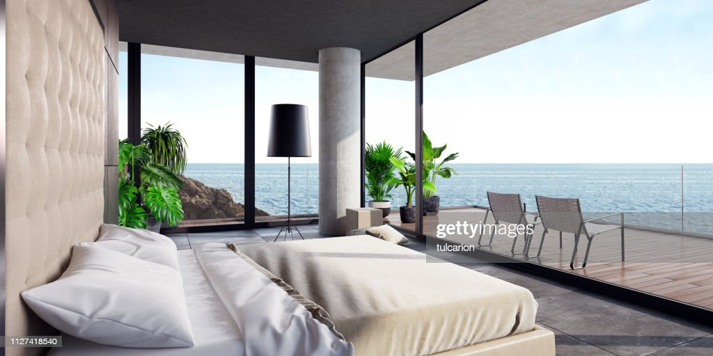 Modern Luxurious Bedroom With Large Terrace In A Villa By The Ocean High Res Stock Photo Getty Images