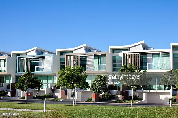 modern luxury apartments - terraced_house stock pictures, royalty-free photos & images