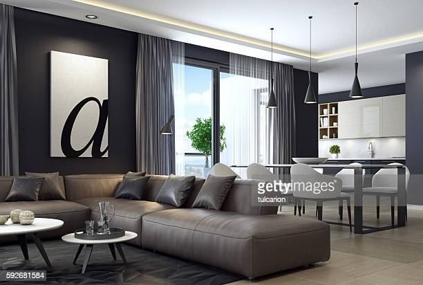 modern luxury black style apartment with leather sofa - binnenopname stockfoto's en -beelden