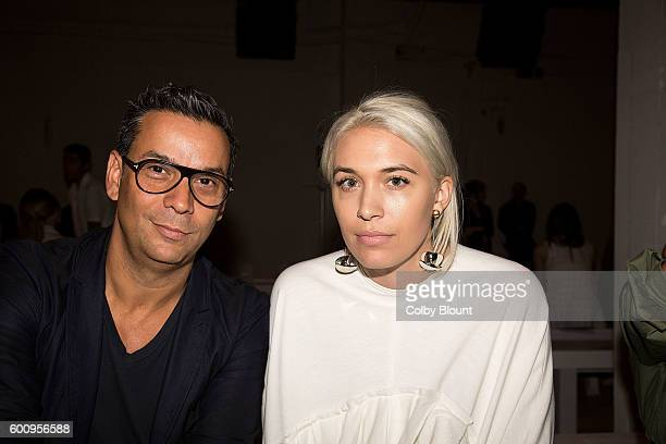 Modern Luxury Fashion Director James Aguiar and Modern Luxury Market Editor Jacqueline Grossnickle attend the Noon By Noor fashion show during New...