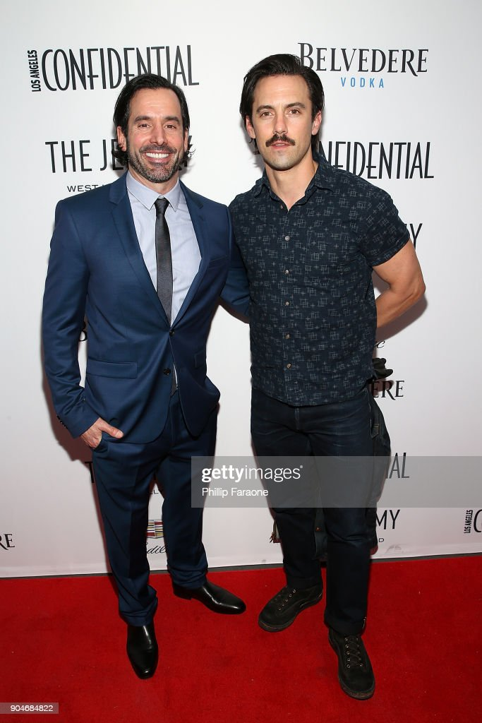 Modern Luxury Group Publisher Christopher Gialanella and Milo Ventimiglia attend the Los Angeles Confidential, Alison Brie and Cadillac celebrate annual Awards Event with Belvedere Vodka at The Jeremy West Hollywood on January 13, 2018 in Los Angeles, California.