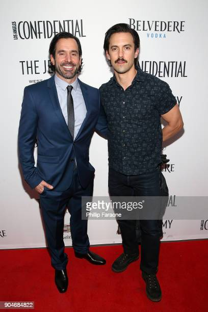 Modern Luxury Group Publisher Christopher Gialanella and Milo Ventimiglia attend the Los Angeles Confidential Alison Brie and Cadillac celebrate...