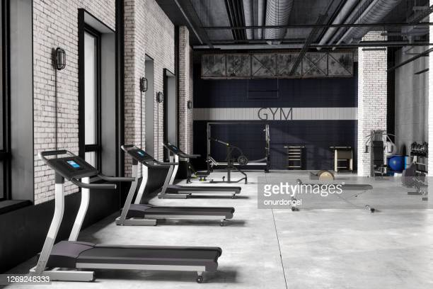 modern luxury gym interior - health club stock pictures, royalty-free photos & images