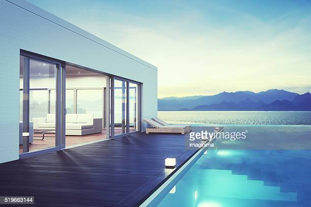 Modern Luxury House With Pool At Dawn