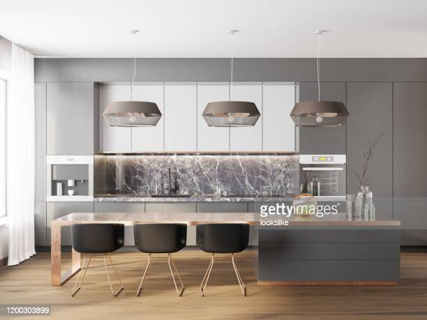 modern luxury kitchen - front view stock pictures, royalty-free photos & images