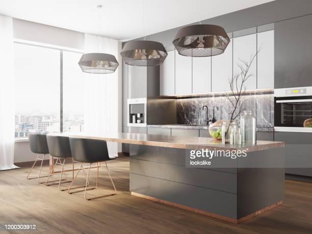 moderne luxusküche - küche stock-fotos und bilder