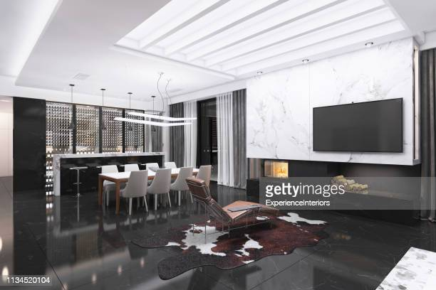 modern luxury villa interior - granite stock pictures, royalty-free photos & images