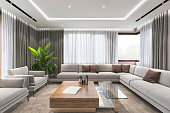 Modern luxury villa living room interior