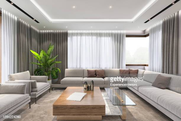 modern luxury villa living room interior - ceiling stock pictures, royalty-free photos & images