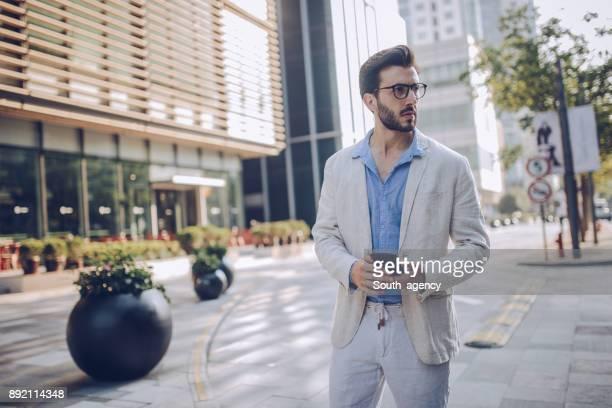 Modern man downtown