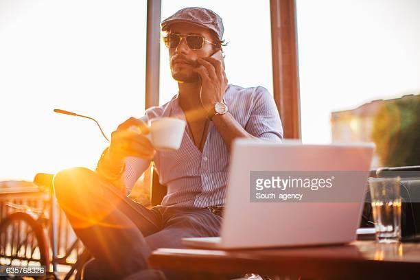 Modern Man in cafe