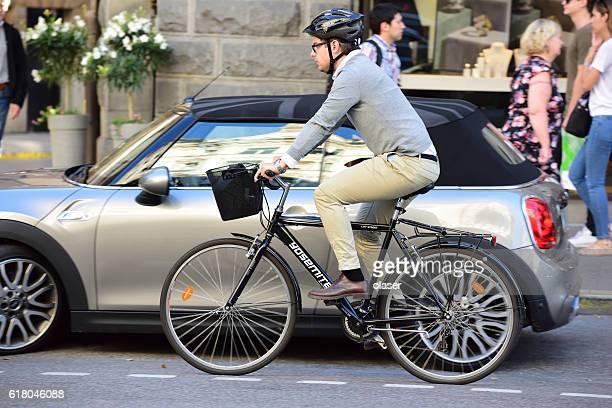 Modern man on environment friendly bike, Stureplan