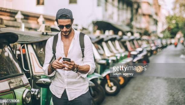 Modern man tourist