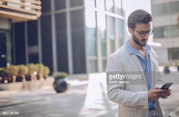 Modern man using mobile