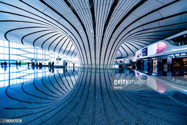 modern metal structure terminal. - global entry stock pictures, royalty-free photos & images