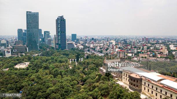 modern mexico skyscrapers and chapultepec castle - chapultepec park stock photos and pictures