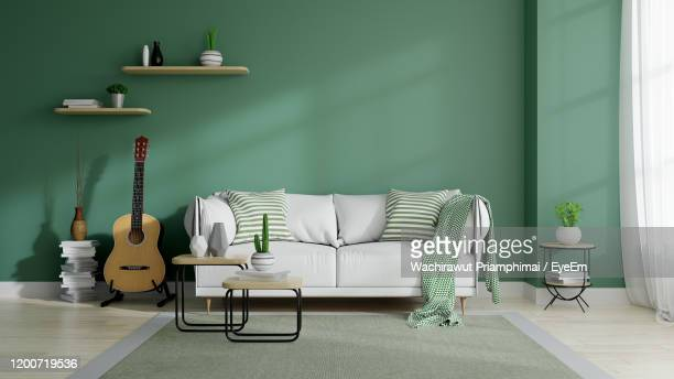 modern mid century and minamalist interior of living room, eco space concept design , white sofa - living room stock-fotos und bilder