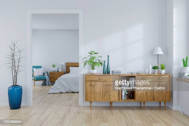 modern mid century and vintage interior of bedroom and living room - 居間 ストックフォトと画像