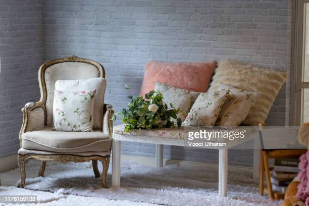 modern mid century and vintage interior of living room - cushion stock pictures, royalty-free photos & images
