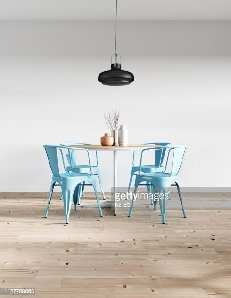 modern minimalist dining room - sedia foto e immagini stock