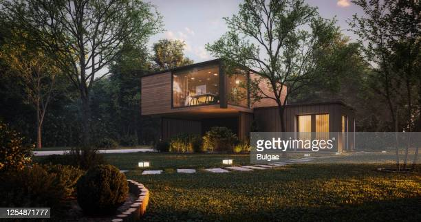 modern minimalist family villa - luxury stock pictures, royalty-free photos & images