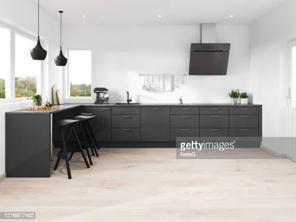 moderne minimalistische keuken - betegelde vloer stockfoto's en -beelden