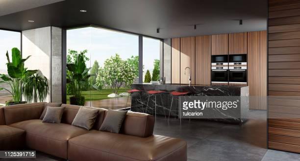 cozinha minimalista moderna com jardim aberto - bancada de cozinha mobília - fotografias e filmes do acervo