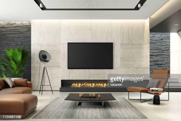 modernen minimalistischen wohnzimmer mit eco kamin - insight tv stock-fotos und bilder