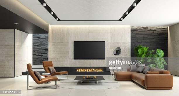 エコ暖炉とモダンなミニマルなリビング ルーム - insight tv ストックフォトと画像